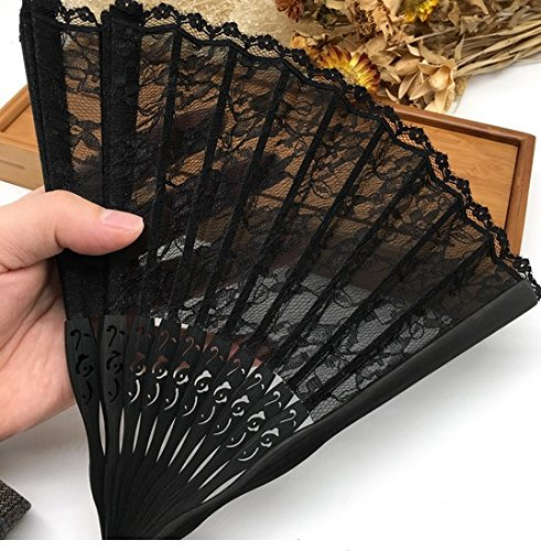 Black Bamboo Lace Trim Hand Fan Portable With For Gift Party Dance Folding Hand Fan by Hand Fan
