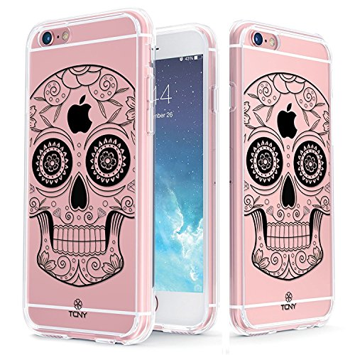 iPhone 6s Skull Case - True Color Clear-Shield Black Sugar Skull Printed on Clear Back - Perfect Soft and Hard Thin Shock Absorbing Dustproof Full Protection Bumper Cover
