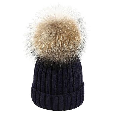 heekpek Women Ladies Winter Beanie Hat Wool Knitted Large Fur Pom Pom Cap  Ski Snowboard Hats 24aef937a4e