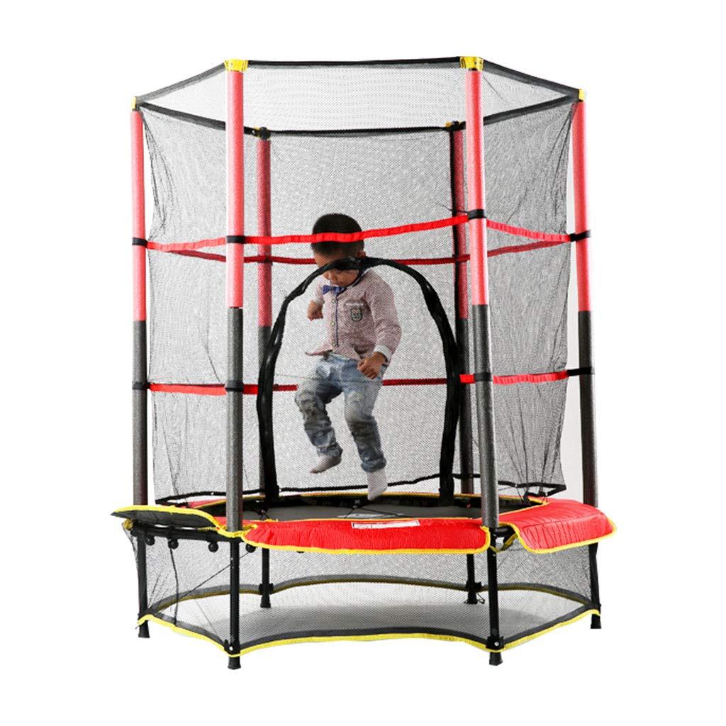 Gartentrampoline Trampolin Kindertrampolin Innentrampolin mit Netzspringbett Kinder-Trampolin-Fitnessgeräte (Farbe : ROT, Größe : 140  140  160cm)