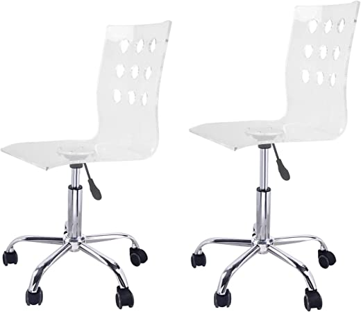 Adeco Transparent Office Chair Set Of 2 Home Decor Amazon Co Uk Kitchen Home