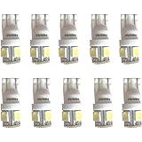 【e-auto fun】T10 LED 高輝度ホワイト6000k 白 5050 3チップ 5連SMD ポジション ナンバー ルームランプ (ウェッジ シングル)10個セット