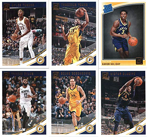 2018-19 Donruss Basketball Indiana Pacers Team Set of 6 Cards: (Rookies included) Tyreke Evans(#102), Victor Oladipo(#112), Bojan Bogdanovic(#122), Thaddeus Young(#132), Myles Turner(#142), Aaron Holiday(#176)