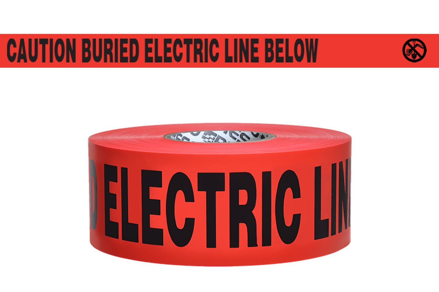 Presco B3104R6 3'' x 1000' 4 mil Red PE''Caution Buried Electric Line Below'' Electric Non-Detectable Underground Tape, 8'' Height, 3'' Wide, 8'' Length