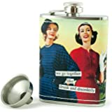 Anne Taintor Stainless Steel Hip Flask With Funnel - We Go Together Like Drunk And Disorderly