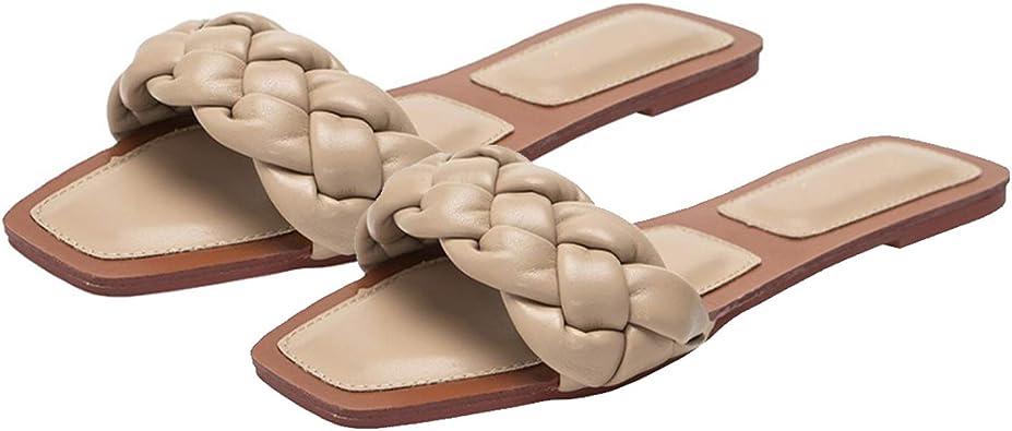 Summer Women Square Toe  Slip On Mules Flats Slipper Comfortalbe Shoes Size @