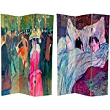 Oriental Furniture 6 ft. Tall Double Sided Works of Toulouse-Lautrec Canvas Room Divider - Sleeping/Ball in the Moulin