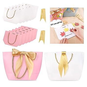 Phogary Bolsas de regalo con asas - 12PCS 11x7.9x3.5 Papel Bolso del favor de fiesta con lazo para Cumpleaños Envoltura de regalo de boda (rosa y ...