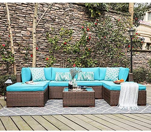 OC Orange-Casual 7 Pieces Outdoor Patio Furniture Set All Weather Wicker Sectional Sofa Couch Chair Ottoman with Glass Top Coffee Table Seat Cushion