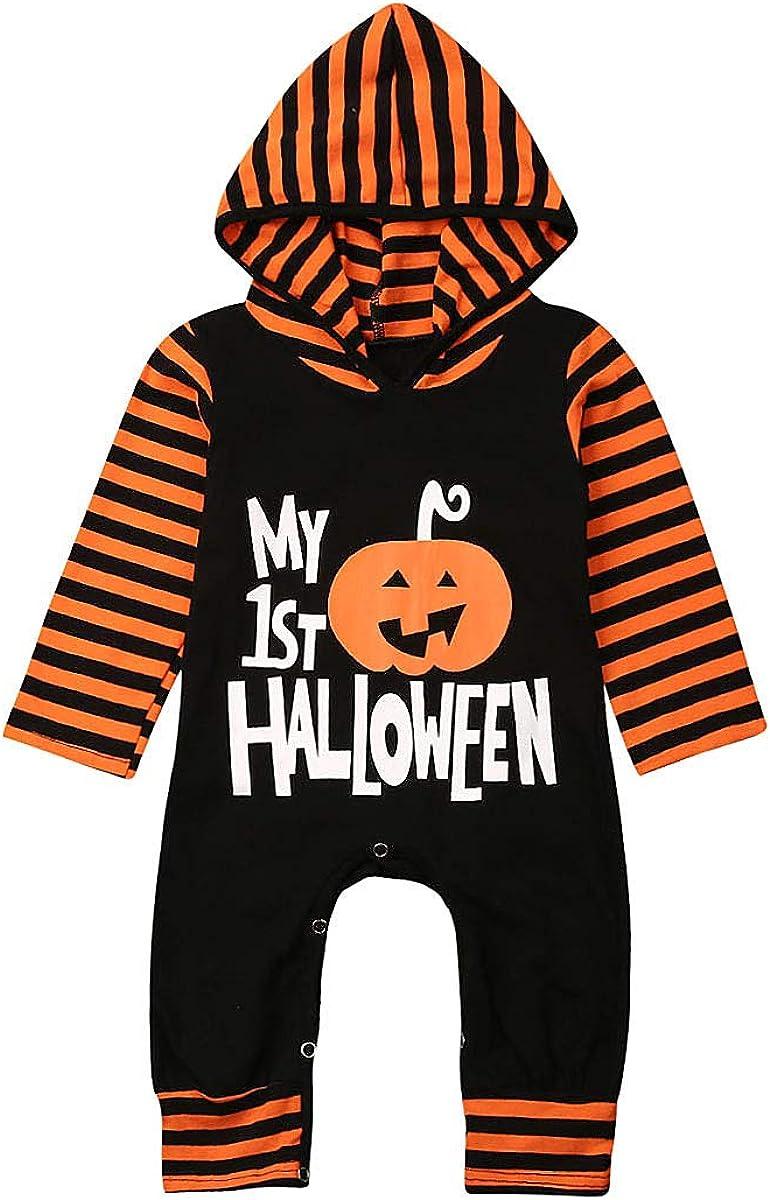 Douhoow Halloween Baby Boys Girls Outfit My 1st Halloween Pumpkin Hoodie Romper Bodysuit One-Piece Jumpsuit