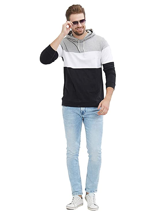 9a80f16d9 LEWEL Men's Full Sleeve Grey, White, Black Hooded T-Shirt (100% Cotton,  Bio-Washed): Amazon.in: Clothing & Accessories