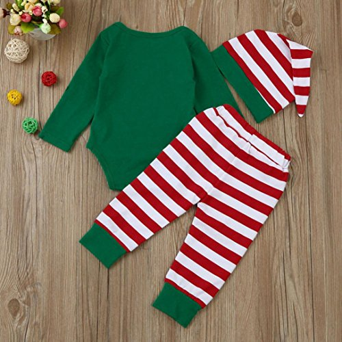 bf0b1cc3125 Newborn Infant Christmas Outfits Set Baby Boy Girl Clothes Romper Tops  Striped Pants Hat