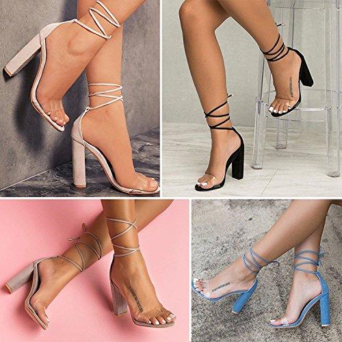 Shoes Blu Donna Casuale Beach Sandali Scarpe A Trasparenti Tacco Minetom Eleganti Lacci Sandals Moda Partito Estate Toe Blocco Peep zqvdSSUBxw