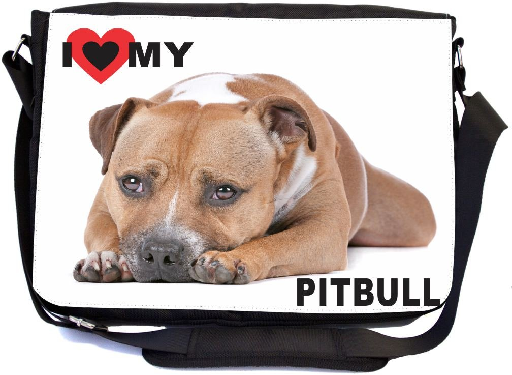 Rikki Knight I Love My Brown Pitbull Dog Design Multifunctional Messenger Bag - School Bag - Laptop Bag - with Padded Insert for School or Work - Includes Matching Compact Mirror