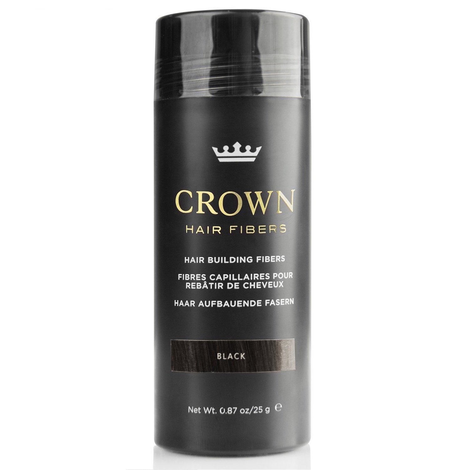 CROWN Hair Fibers - Best Keratin Hair Fibers Instantly Thickens Thinning or Balding Hair for Men and Women - Natural Hair Loss Concealer 0.87oz - Black