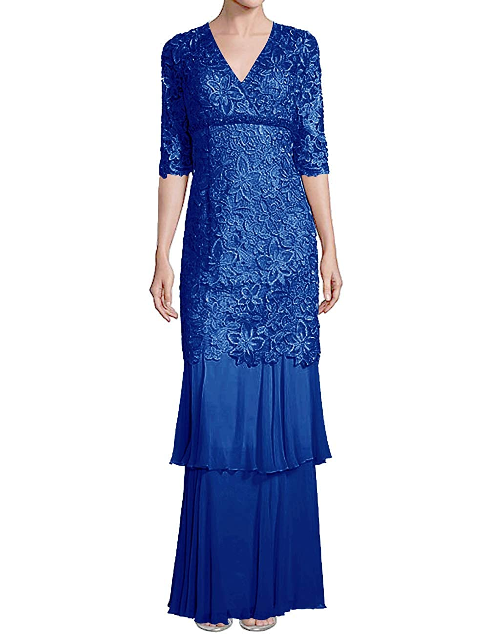 Dark bluee H.S.D Mother of The Bride Dresses Lace Formal Gowns Long Evening Dresses Sleeve Tiered