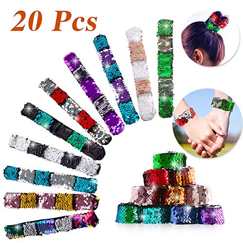 LUDILO Mermaid Slap Bracelets 20Pcs Sequin Mermaid Bracelets for Girls 2-Color Reversible Sequin Mermaid Glitter Bracelet Theme Birthday Party Supplies Class Prizes Goodies Bag Filler ()