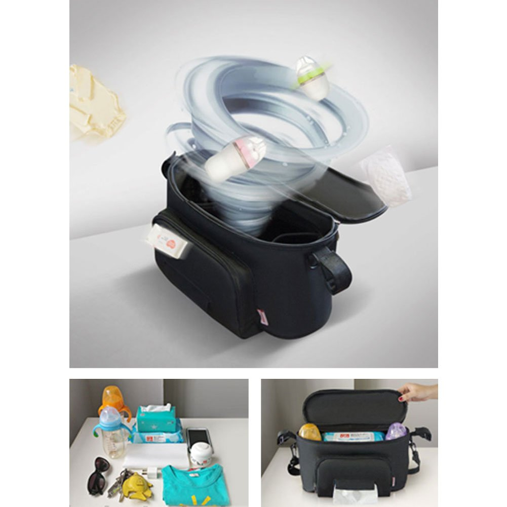 Kinbelle Bolsos Carro Bebé Universal Gran Capacidad Bolsas Organizador Carro Silla Paseo Negro