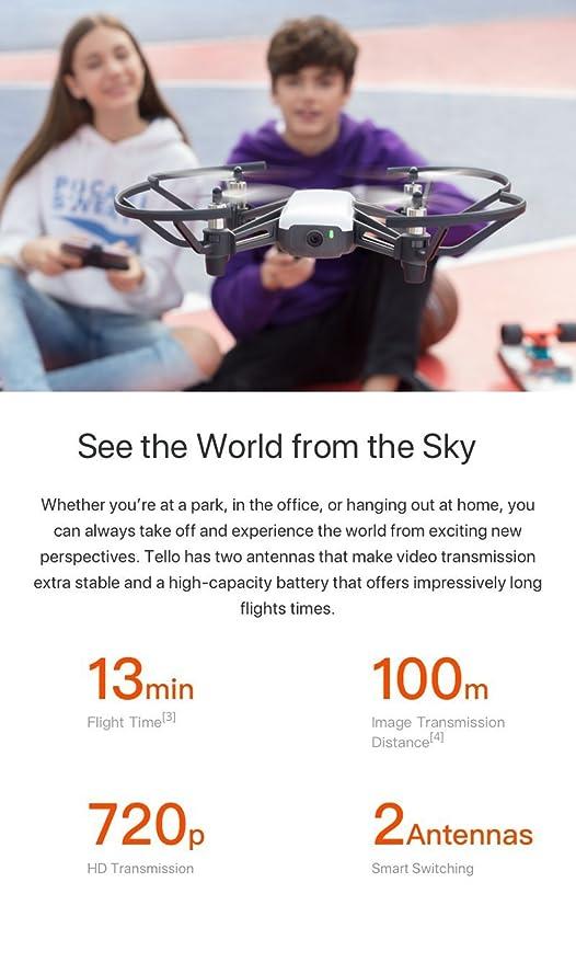 DJI Tello Drone with 5MP HD Camera 720P Wi-Fi FPV 8D Flips Bounce Mode Quadcopter Stem Coding Newest Professional Camera Drone, White