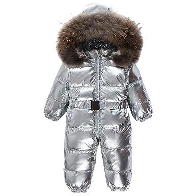 16dd16e6acfa Amazon.com  Sliver children winter jumpsuit fashion baby down romper ...