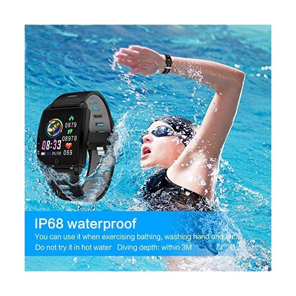 Reloj Inteligente, KINGLINK Smartwatch con Cronómetro Pulsera Inteligente Impermeable Monitor de sueño Pantalla Color Podómetro con Pulsómetro, Calorías IP68 para Android y iOS (Negro) 5