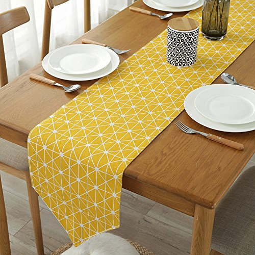 ColorBird Diamond Checkered Table Runner Cotton Linen Runners for Kitchen Dining Living Room Table Linen Decor (12 x 70 Inch, Yellow) -