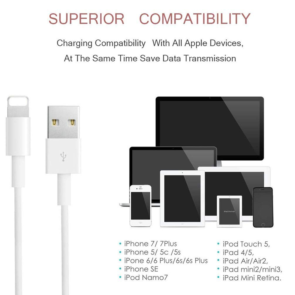 Apple iPhone/iPad Charging/Charger Cord Lightning to USB Cable[Original Apple MFi Certified] Compatible iPhone X/8/7/6s/6/5s/5c/SE,iPad Pro/Air/Mini ...