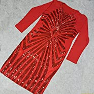 Sexy Red Plus Size Bodycon Dress Women Sequin Geometric Pattern Dress (XL, Red)