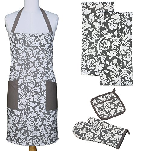 (Yourtablecloth Kitchen Gift Set-1 Kitchen Apron, an Oven Mitt & A Pot Holder-2 Kitchen Dish Towels or Tea Towels-Ideal Cooking Gifts or Gift Ideas for Chefs-Suitable for Men &)