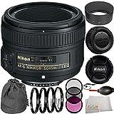 Nikon AF-S NIKKOR 50mm f/1.8G Lens Bundle with Manufacturer Accessories & Accessory Kit (14 Items) - International Version (No Warranty)