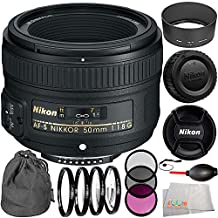 Nikon AF-S NIKKOR 50mm f/1.8G Lens Bundle with Manufacturer Accessories & Accessory Kit (14 Items) - International Version (No Warranty)