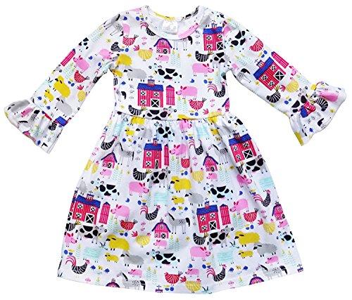 So Sydney Little Girls Long Sleeve Fall Flare Stretch Cotton Holiday Princess Dress (XL (6), Barnyard Farm)
