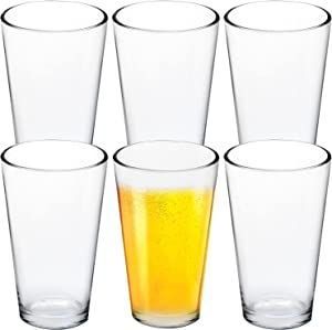 Accguan Clear Glass Beer Cups – All Purpose Drinking Tumblers, 17 oz – Elegant Design for Home and Kitchen – Lead and BPA Free, Great for Restaurants, Bars, Parties(6 Pack)