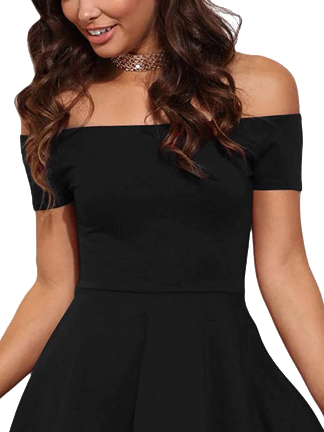 f0a3a99cc5f YOINS Women Off Shoulder Short Sleeve High Low Skater Dress Formal Party  Cocktail at Amazon Women s Clothing store
