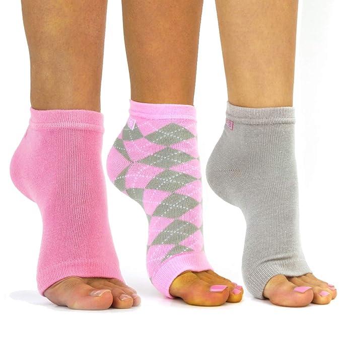 Amazon.com: Freetoes - Calcetines sin dedos, 3 pares, 1 rosa ...