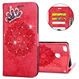 IKASEFU Huawei P9 lite Case,3D Clear Crown Rhinestone Diamond Bling Glitter Wallet with Card Holder Emboss Mandala Floral Pu Leather Magnetic Flip Case Protective Cover for Huawei P9 lite,Red