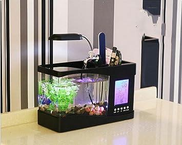 Wmshpeds Mini USB peces de acuario tanque creativa tanque de pescado al día artículos para el