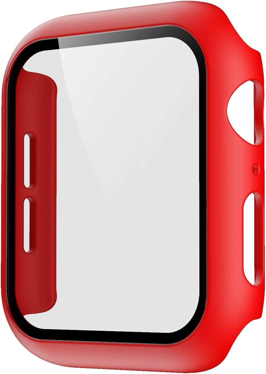 Pokanic Compatible with Apple Watch SE 6 5 4 3 2 1 Series iWatch 9H Tempered Glass Case Full Body Screen Protector Cover Wireless Charge Light Weight Scratch Resistant Proof (Red, 42mm)