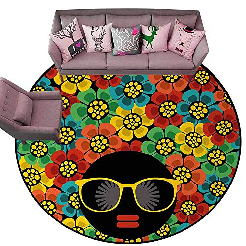 Designed Kitchen Bathroom Floor Mat Colorful 70s Party,Abstract Woman Portrait Hair Style with Colorful Flowers Sunglasses Lips Graphic,Multicolor Diameter 78