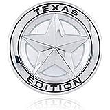 "DSYCAR Diameter 3"" 3D Metal TEXAS EDITION Star Car Emblem Bagde For JEEP Dodge Mercedes BMW Mustang Ranger Volvo Chevrolet Nissan Mazda Audi VW Ford Fiesta Honda Toyota Highlanger (Silver)"