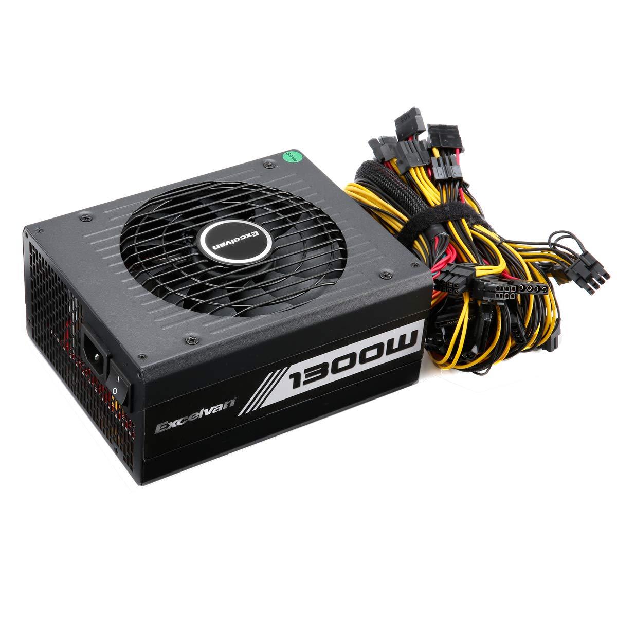 Excelvan Computer Modular Power Supply/PSU for PC/Desktop/ Gaming Computer,1300 Watt 80+ Bronze Certified PSU with Silent Fan,3-Year Warranty