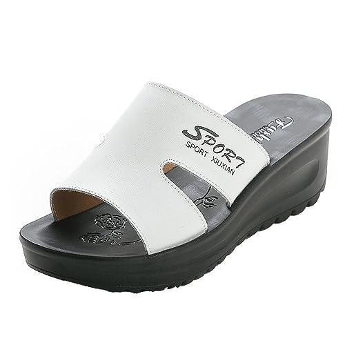 Muffin Zapatillas, con un Elegante Sandalias de Suela Gruesa en Verano, Sandalias de Tacón de Cuña al Aire Libre Zapatos de Tacón Alto Minimalistas: ...
