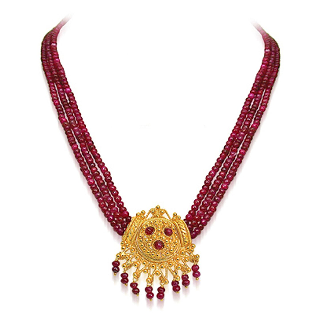 Buy SURATDIAMOND 3 Line Real Ruby Beads and Gold Plated Pendant Necklace  and Earring Set for Women (SP398) at Amazon.in