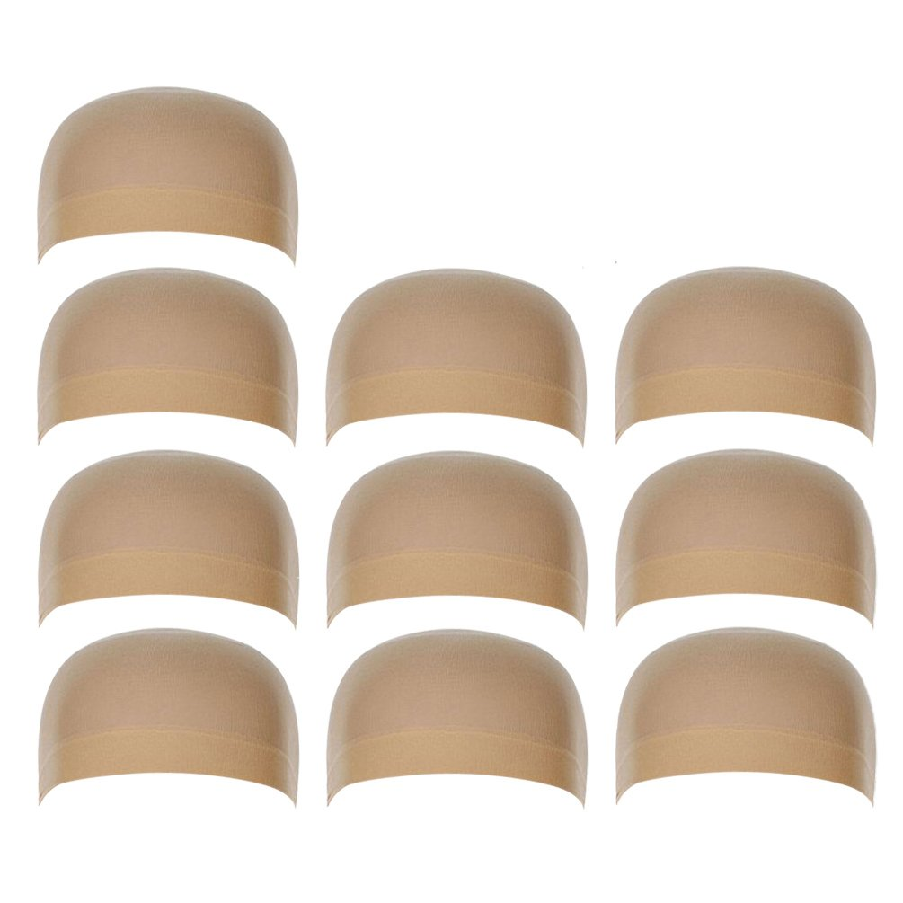 10 Pack Nylon Stocking Wig Caps for Women and Men Skin Color Elastic Stretchy Neutral Nude Beige Rise World