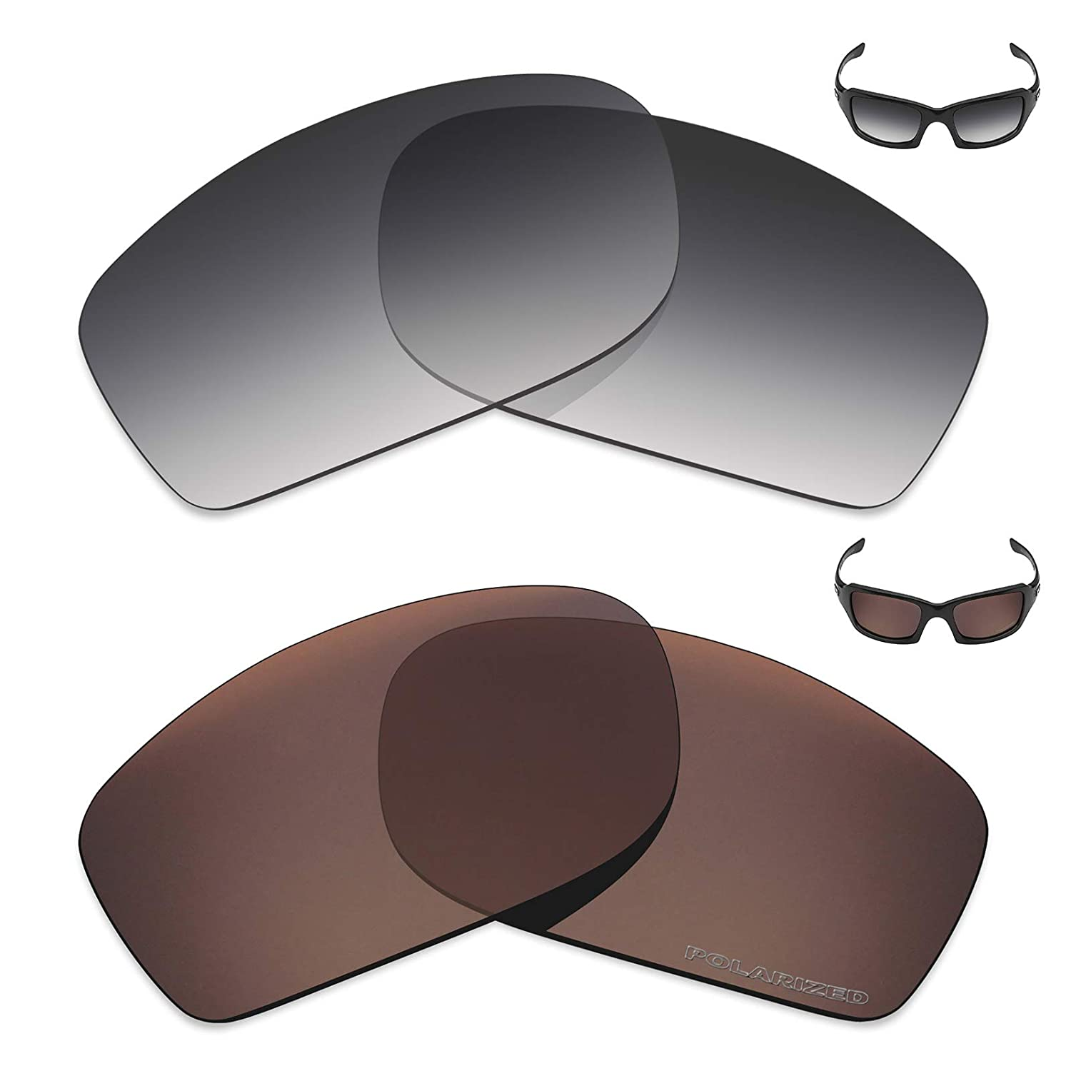 e02ec995bf Amazon.com  Mryok+ 2 Pair Polarized Replacement Lenses for Oakley Fives  Squared Sunglass - Grey Gradient Tint Bronze Brown  Sports   Outdoors