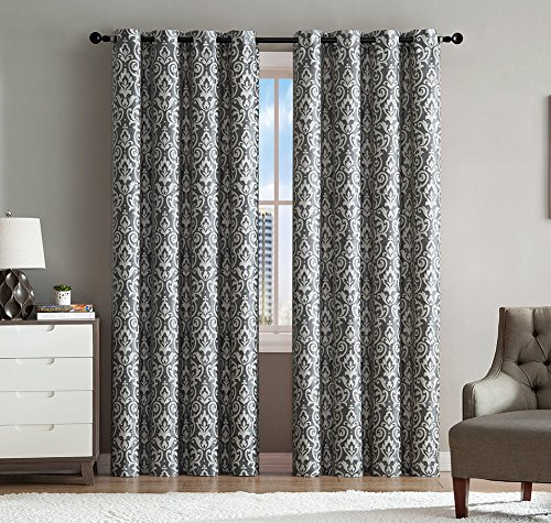 Price comparison product image Sophie 2-Pack Damask Jacquard Grommet Panel,  Grommet Panel For Fast Hanging,  Light And Privacy Without Compromise,  Modern Damask Design Panels,  55x90 Inches (Gray)