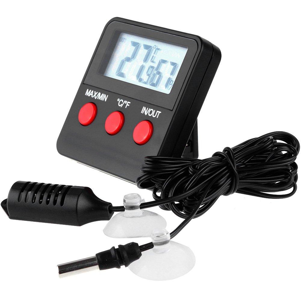 Anpro Digital Hygrometer Wasser Thermometer, Luftfeuchtigkeit Feuchtigkeitsmesser mit LCD-Anzeige fü r Terrarium, Garten, Aquarium