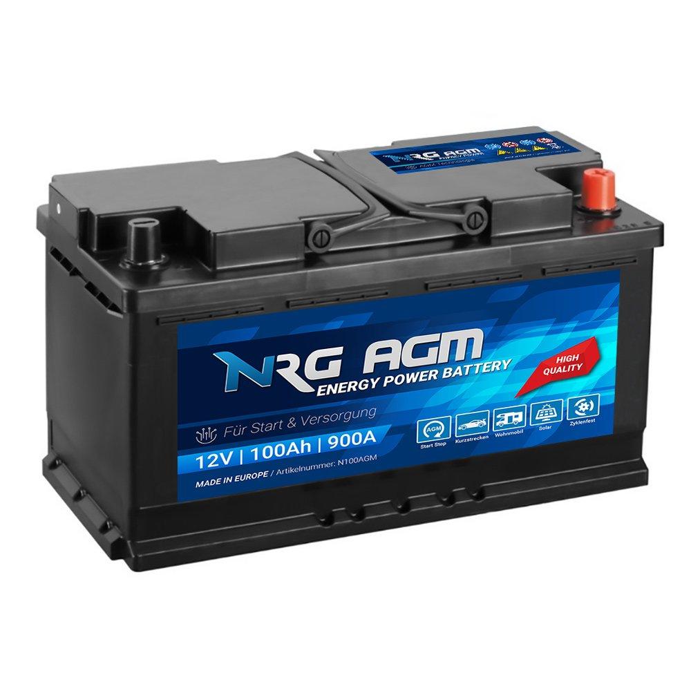 NRG AGM Autobatterie 100Ah 900A/EN 12V Start Stop Plus VRLA Batterie statt 92Ah 95Ah N100AGM