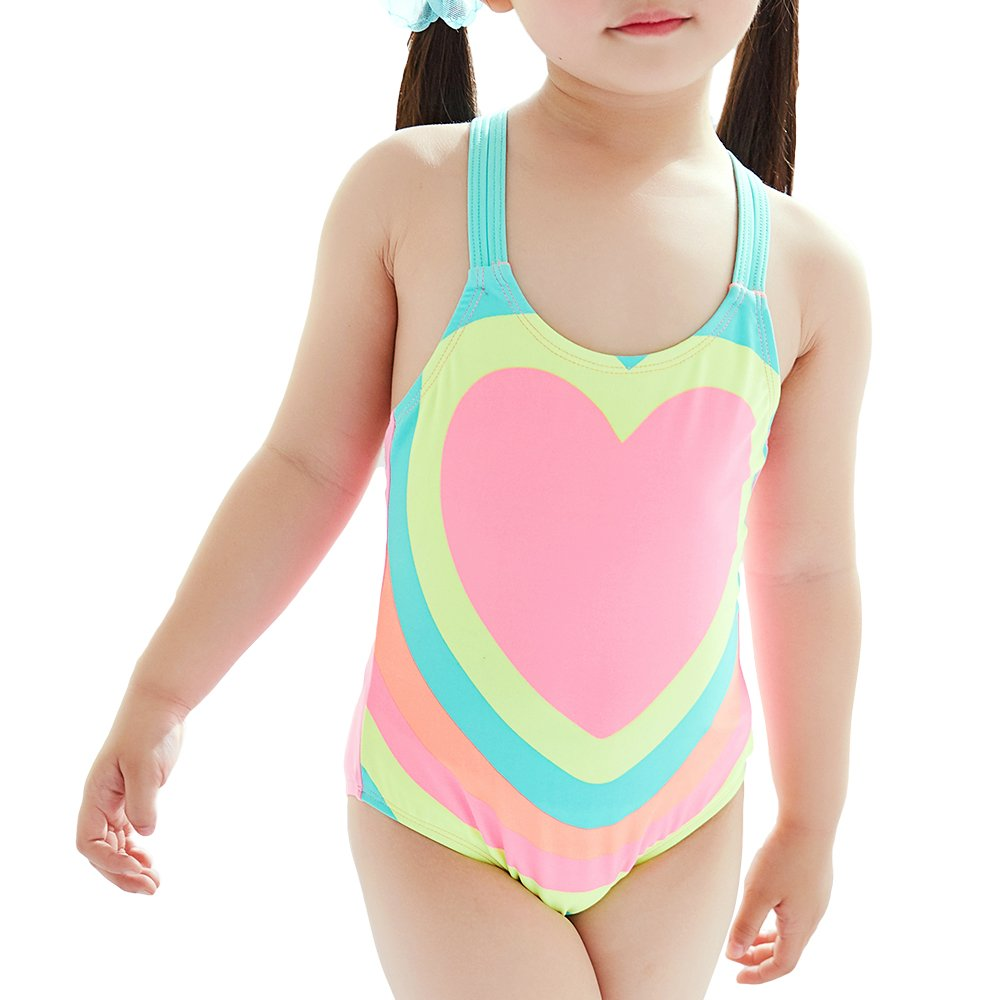 Saidi One Piece Swimsuit for Little Girls (Pink Heart, 4T)