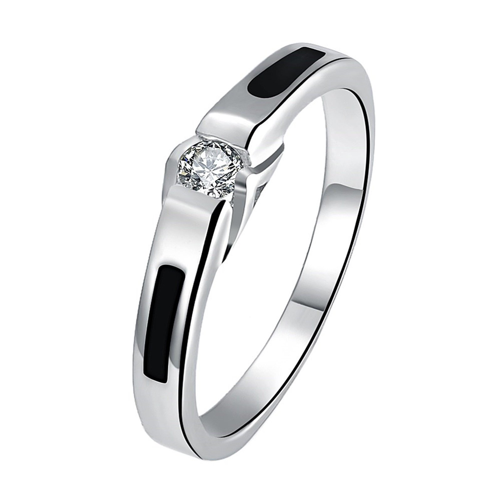Epinki White Gold Plated Men Silver Crystal Cubic Zirconia Bridal Wedding Band Ring Size 9 Men Accessories
